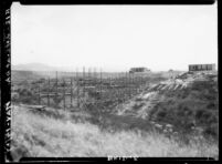 Bridge at Westwood campus under construction, 1927