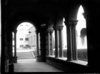Royce Hall's east side portico looking towards the Chemistry Building (Haines Hall), c.1936