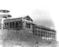 Library (Powell Library) under construction (west side), 1928