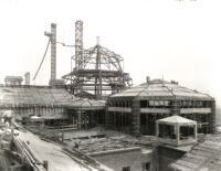 Library (Powell Library) domes under construction, 1928