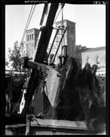 Physics-Biology Building addition under construction with Royce Hall in background, 1932