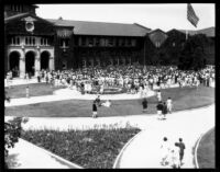 Vermont Avenue campus - Student union rally on Main Quad, 1929