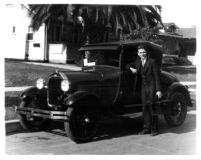 Thelner Hoover with automobile, c.1930