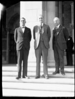 Dedication ceremony - Adam Blyth Webster, Robert G. Sproul, and unidentified man, 1930