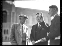 Dedication ceremony - Jake Gimbel, Robert Underhill, and unidentified man, 1930