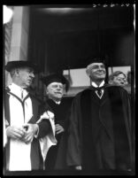 Dedication ceremony - Participants in regalia exiting Royce Hall, 1930