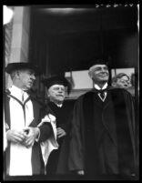 Dedication ceremony - Participants in regalia exiting Royce Hall, 1930