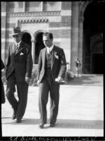 Dedication ceremony - Unidentified man and Virgil Cazel, 1930