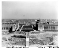 Aerial view of Janss Steps and campus, 1930