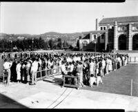 Registration - Students lined up at the Women's Gymnasium (Kaufman Hall), 1936