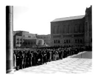Registration - Students lined up on the Esplanade facing Royce Hall, 1930