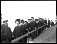 Commencement - Graduates descend stairs, c.1941