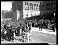 Kerckhoff Hall dedication - Onlookers with the Education Building (Moore Hall) in background, 1931