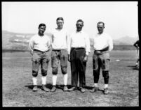 Football coaches at practice, 1931