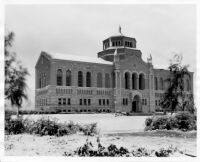 Snowfall on campus - The Library (Powell Library), 1932