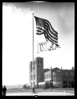 Flying of UCLA victory flag, 1932