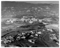 Aerial view of UCLA with Sorority Row in foreground, 1936