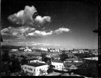"""Distant view of campus from """"Gayleyville"""", 1952"""