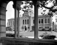 Library (Powell Library) viewed from Royce Hall colonnade, c.1941