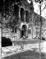 Library (Powell Library) with students at entrance, c.1960