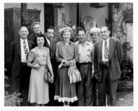 Louise Hoover with unidentified group, c.1950
