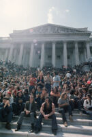 Anti-war demonstrators sit on the steps of the Capital building during the 1971 May Day Protest in Washington D.C