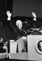 President Dwight D. Eisenhower greets crowd during speech