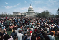 Demonstrators gather in front of Capital building for the 1971 Vietnam War Out Now protest in Washinton D.C.