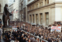 President Jimmy Carter speaks to a crowd in New York City during a 1978 campaign endorsment for Democrats Hugh Carey and Mario Cuomo