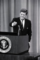 President John F. Kennedy answers questions during a White House press conference