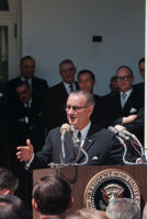 President Lyndon B. Johnson speaks at a White House press conference