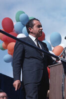 President Richard Nixon speaks to a crowd during his 1968 incumbent presidential campaign