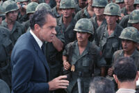 President Richard Nixon speaks to American troops in Dĩ An, Vietnam