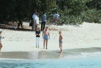 President Ronald Reagan and First Lady Nancy Reagan at a beach