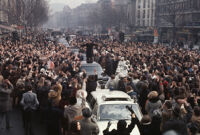 President Richard Nixon waves to the crowd during a 1969 parade through West Berlin, Germany