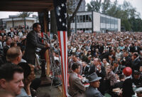 Vice President Richard Nixon gives a speech during his 1960 presidential campaign