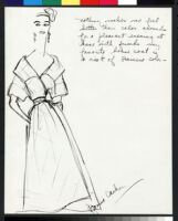 Cashin's illustrations of at-home wear designs, with swatches and blurbs. f03-16