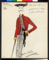 Cashin's hand-painted illustrations of ensembles featuring red Forstmann wool. f11-07