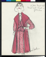 Cashin's hand-painted illustrations of ensembles featuring red Forstmann wool. f11-16