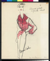 Cashin's hand-painted illustrations of ensembles featuring red Forstmann wool. f11-17