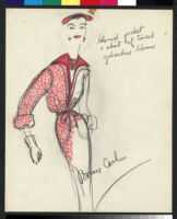 Cashin's hand-painted illustrations of ensembles featuring red Forstmann wool. f11-18