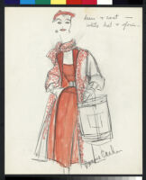 Cashin's hand-painted illustrations of ensembles featuring red Forstmann wool. f11-19