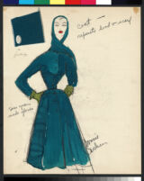 Cashin's illustrations of ensembles featuring turquoise Forstmann wool. f13-03