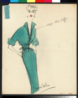 Cashin's illustrations of ensembles featuring turquoise Forstmann wool. f13-05