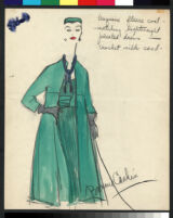 Cashin's illustrations of ensembles featuring turquoise Forstmann wool. f13-11