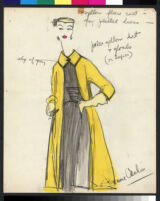 Cashin's hand-painted illustrations of ensembles featuring yellow Forstmann wool. f14-04