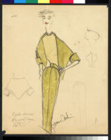 Cashin's hand-painted illustrations of ensembles featuring yellow Forstmann wool. f14-03
