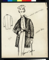 Cashin's illustrations of ready-to-wear ensembles with outerwear for Sills and Co. b076_f04-15