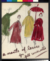 Cashin's illustrations of coat designs for Norman Zeiler, with swatches. f02-01