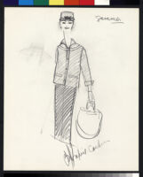 Cashin's illustrations of uniforms designed for American Airlines flight attendants. b078_f08-11